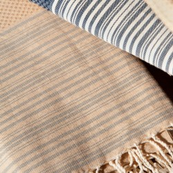 COOL-FOUTA NEW HAMMAM Stripes on solid color Honeycomb Fouta Towel 2x1m.