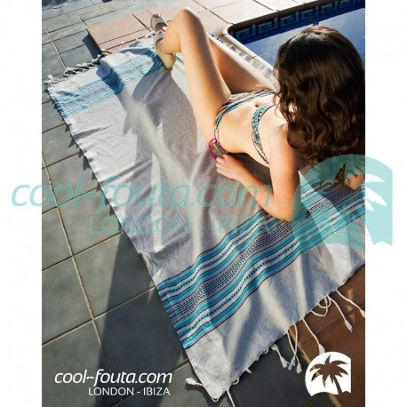 HAMMAM BERBERE Solid color Honeycomb Fouta with 3 colors stripes