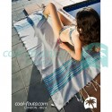COOL-FOUTA HAMMAM BERBERE Solid color Honeycomb Fouta with 3 colors stripes 2x1m.