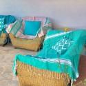 COOL-FOUTA XL CLASSIC Toalla de Hammam Fouta Tejido liso y color liso con bandas blancas clásicas 250x160cm
