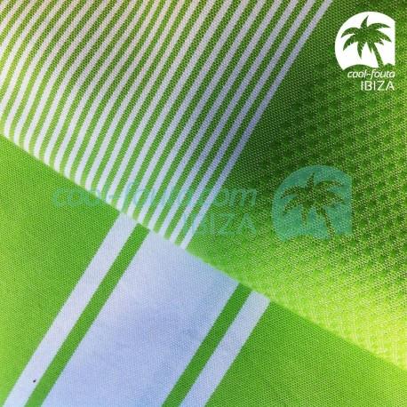 COOL-FOUTA PACK x2 Green Flash 1 Classic Plain weaving + 1 Honeycomb weaving with stripes Hammam Fouta Towels