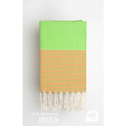 COOL-FOUTA Honeycomb Green Flash solid color with Peach Echo stripes - Hammam Towel Fouta 2x1m.