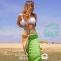 COOL-FOUTA Panal de abeja color liso Verde Flash con rayas Melocotón - Toalla de Hammam Fouta 2x1m.