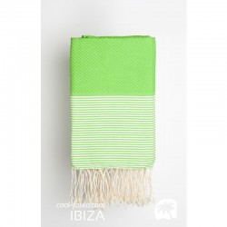 COOL-FOUTA Honeycomb  Green Flash solid color with White stripes - Hammam Towel Fouta 2x1m.