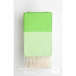 COOL-FOUTA Panal de abeja color liso Verde Flash con rayas Blancas - Toalla de Hammam Fouta 2x1m.