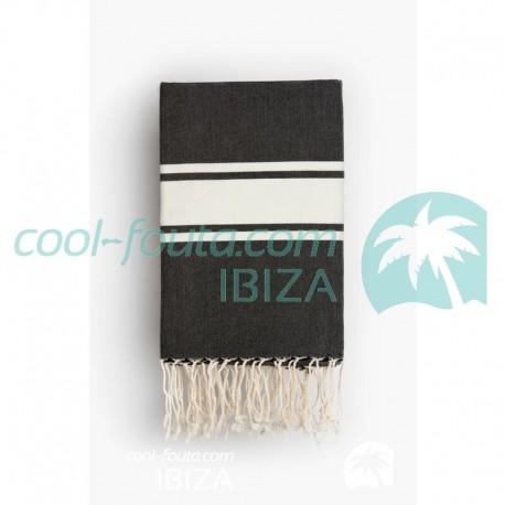 COOL-FOUTA CLASSIC Tejido liso Negro con bandas blancas clásicas - Toalla de Hammam Fouta  2x1m.