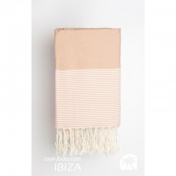 COOL-FOUTA Honeycomb Iced Coffee solid color with Rose Quartz stripes - Hammam Towel Fouta 2x1m.