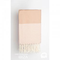 COOL-FOUTA Panal de abeja color liso Café con rayas Rosa Cuarzo - Toalla de Hammam Fouta 2x1m.