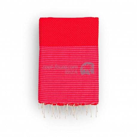 COOL-FOUTA Honeycomb Grenadine Red solid color with Pink Yarrow stripes - Hammam Towel Fouta 2x1m.