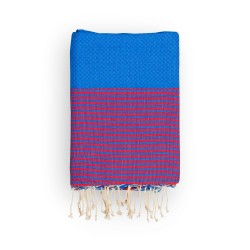 COOL-FOUTA Honeycomb Lapis Blue solid color with Grenadine Red stripes - Hammam Towel Fouta 2x1m.
