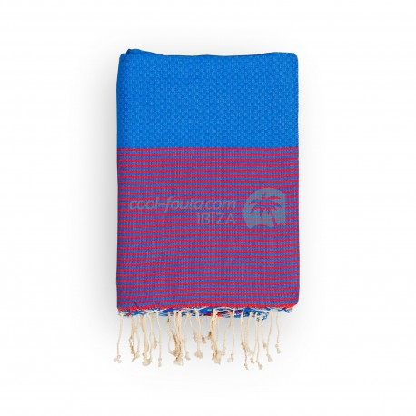 COOL-FOUTA Honeycomb Lapis Blue solid color with Red Grenadine stripes - Hammam Towel Fouta 2x1m.