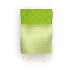 COOL-FOUTA Honeycomb Golden Lime Greenery solid color with Raw cotton stripes - Hammam Towel Fouta 2x1m.