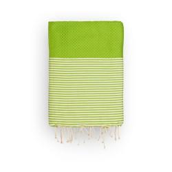 COOL-FOUTA Panal de abeja color liso Verde Golden Lime Greenery con rayas Crudo - Toalla de Hammam Fouta 2x1m.