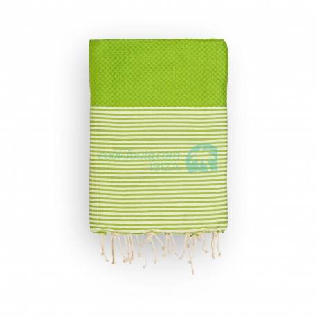 COOL-FOUTA Honeycomb Golden Lime Green solid color with Raw cotton stripes - Hammam Towel Fouta 2x1m.