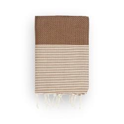 COOL-FOUTA Panal de abeja color liso Chocolate con rayas Crudo - Toalla de Hammam Fouta 2x1m.