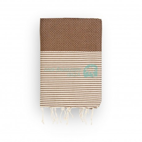 COOL-FOUTA Honeycomb Chocolate solid color with Raw cotton stripes - Hammam Towel Fouta 2x1m.