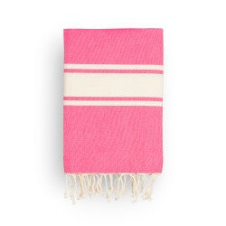 COOL-FOUTA CLASSIC plain weaving Fuchsia Pink Yarrow with raw cotton stripes - Fouta Hammam Towel 2x1m.