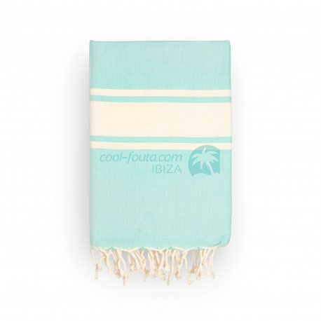 COOL-FOUTA CLASSIC plain weaving Tiffany's Sal de Ibiza with raw stripes - Fouta Hammam Towel 2x1m.