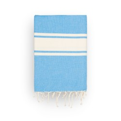 COOL-FOUTA CLASSIC plain weaving Marina Blue with raw stripes - Fouta Hammam Towel 2x1m.