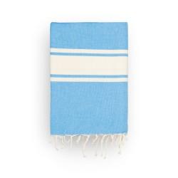 COOL-FOUTA CLASSIC Tejido liso Azul Marina con bandas crudo clásicas - Toalla de Hammam Fouta  2x1m.