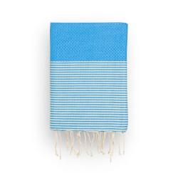 COOL-FOUTA Panal de abeja color liso Azul Marina con rayas algodón crudo - Toalla de Hammam Fouta 2x1m.