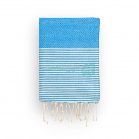 COOL-FOUTA Honeycomb Marina Blue solid color with raw cotton stripes - Hammam Towel Fouta 2x1m.