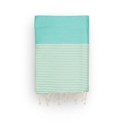 COOL-FOUTA Panal de abeja color liso Sal de Ibiza Tiffany con rayas algodón crudo - Toalla de Hammam Fouta 2x1m.