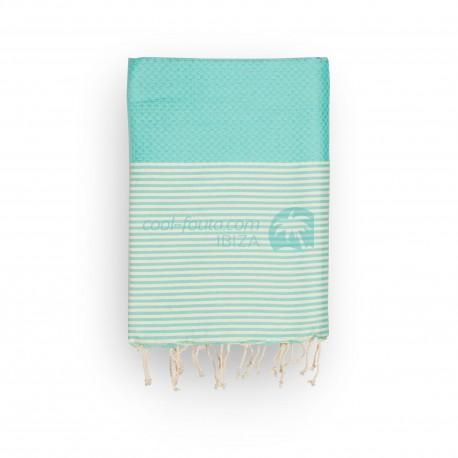 COOL-FOUTA Honeycomb Tiffany's Sal de Ibiza solid color with raw cotton stripes - Hammam Towel Fouta 2x1m.