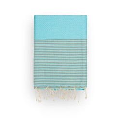 COOL-FOUTA Honeycomb Island Paradise Blue solid color with Neutral Gray stripes - Hammam Towel Fouta 2x1m.