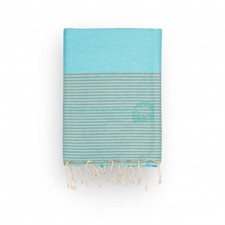 COOL-FOUTA Honeycomb Island Paradise solid color with Neutral Gray stripes - Hammam Towel Fouta 2x1m.