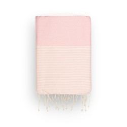 COOL-FOUTA Honeycomb Pale Dogwood Rose solid color with raw cotton stripes - Hammam Towel Fouta 2x1m.
