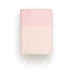 COOL-FOUTA Panal de abeja color liso Rosa Pale Dogwood con rayas algodón crudo - Toalla de Hammam Fouta 2x1m.