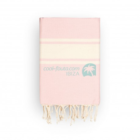 COOL-FOUTA CLASSIC plain weaving Pale Dogwood Rose with raw stripes - Fouta Hammam Towel 2x1m.
