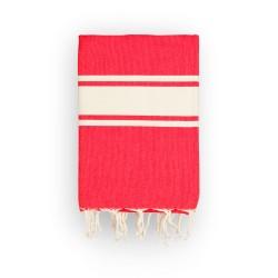 COOL-FOUTA CLASSIC Tejido liso Rojo Granadina con bandas crudo clásicas - Toalla de Hammam Fouta  2x1m.