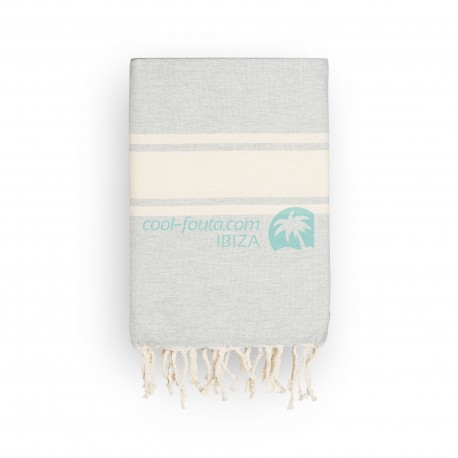COOL-FOUTA CLASSIC plain weaving Gray Violet with raw stripes - Fouta Hammam Towel 2x1m.