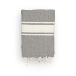 COOL-FOUTA CLASSIC plain weaving Gray Monument with raw stripes - Fouta Hammam Towel 2x1m.