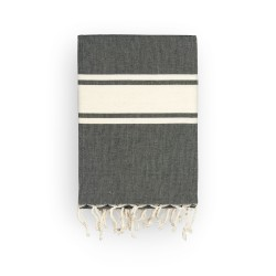 COOL-FOUTA CLASSIC plain weaving Black with raw stripes - Fouta Hammam Towel 2x1m.