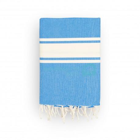 COOL-FOUTA CLASSIC Tejido liso Azul Lapis con bandas crudo clásicas - Toalla de Hammam Fouta  2x1m.