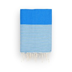 COOL-FOUTA Honeycomb Lapis Blue solid color with raw cotton stripes - Hammam Towel Fouta 2x1m.