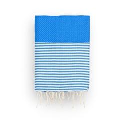 COOL-FOUTA Panal de abeja color liso Azul Lapis con rayas algodón crudo - Toalla de Hammam Fouta 2x1m.