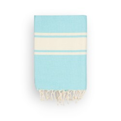 COOL-FOUTA CLASSIC plain weaving Island Paradise Blue with raw stripes - Fouta Hammam Towel 2x1m.