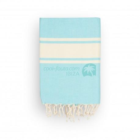 COOL-FOUTA CLASSIC Tejido liso Azul Island Paradise con bandas crudo clásicas - Toalla de Hammam Fouta  2x1m.