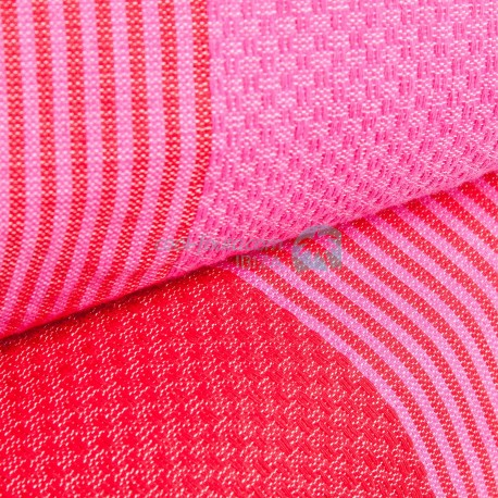 COOL-FOUTA PACK x2 Red and Fucsia Hammam Fouta Towels Honeycomb weaving with stripes