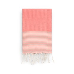 COOL-FOUTA Living Coral Honeycomb solid color with Raw cotton stripes - Hammam Towel Fouta 2x1m.