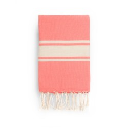 COOL-FOUTA CLASSIC Living Coral plain weaving with raw stripes - Fouta Hammam Towel 2x1m.