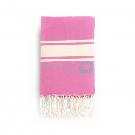 COOL-FOUTA CLASSIC Strawberry Pink plain weaving with raw stripes - Fouta Hammam Towel 2x1m.