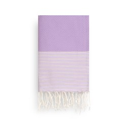 COOL-FOUTA Lavander Orchid Honeycomb solid color with Raw cotton stripes - Hammam Towel Fouta 2x1m.