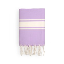COOL-FOUTA CLASSIC Lavander Orchid plain weaving with raw stripes - Fouta Hammam Towel 2x1m.