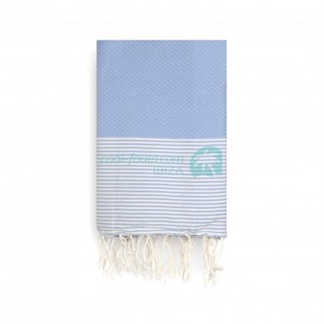 COOL-FOUTA Azul Serenidad Panal de abeja color liso con rayas Algodón Crudo - Toalla de Hammam Fouta 2x1m.