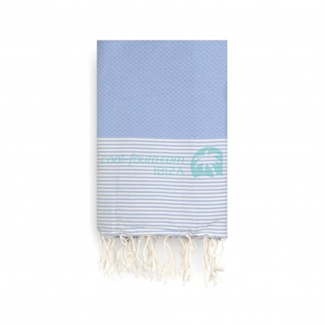 COOL-FOUTA Serenity Blue Honeycomb solid color with Raw cotton stripes - Hammam Towel Fouta 2x1m.